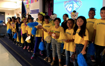 Students celebrating College Kickoff 2019 at Harvest Valley Elementary