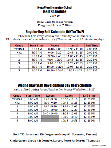Bell Schedule & Office Hours / Bell Schedule