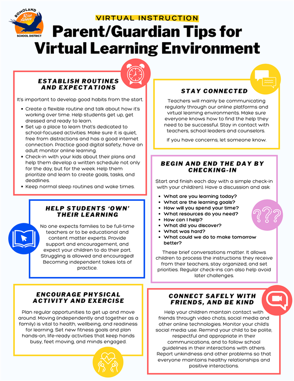 Parent/Guardian Tips for Virtual Learning