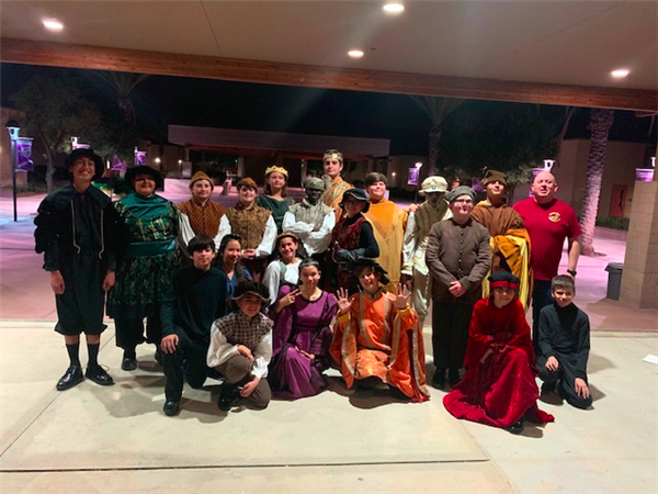 EACMS Drama students in costumes