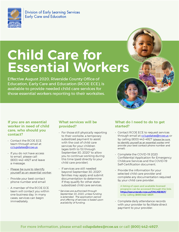 Child Care for Essential Workers English Flyer