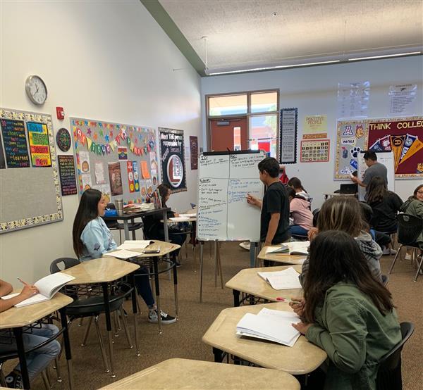Tutorials in action in the AVID Elective classroom.