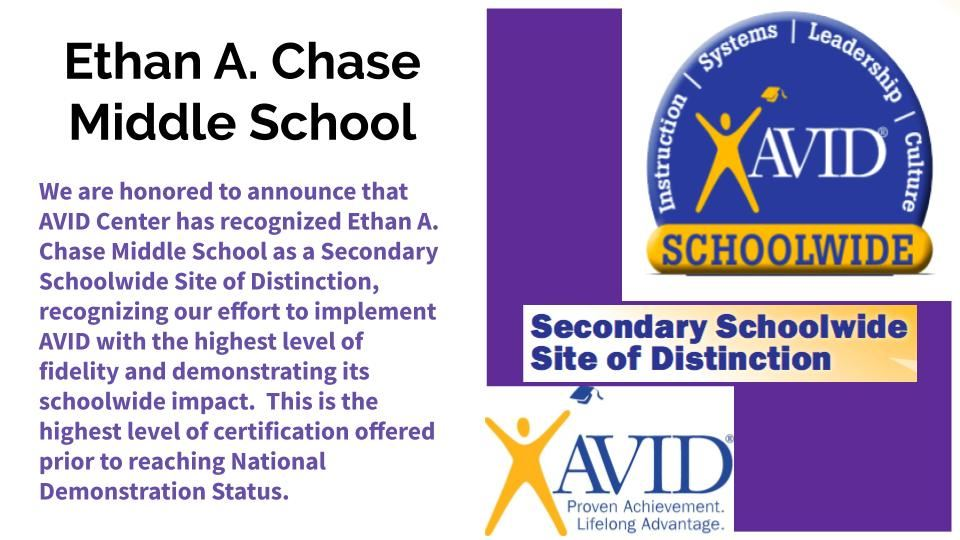 Chase is an AVID SChoolwide Site of Distinction